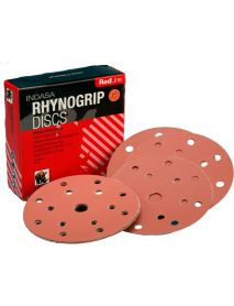 Indasa Rhynogrip Redline Aluminium Oxide Self-Grip Discs 150mm 15 Hole  - Pack of 50