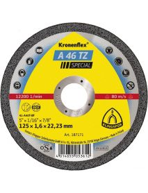 Klingspor A46TZ INOX Slitting Disc (Flat Form) 125mm x 1.6mm x 22.23mm - Pack of 25