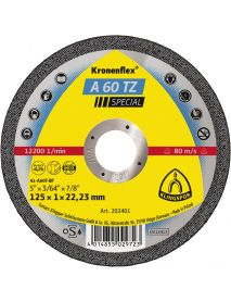 Klingspor A60 TZ Slitting Disc (Flat) 125mm x 1mm x 22.23mm - Pack of 25