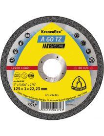 Klingspor A60 TZ Slitting Disc (Flat) 125mm x 1mm x 22.23mm - Pack of 25