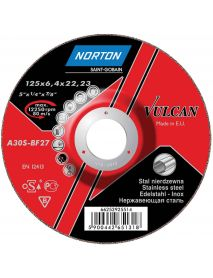 Norton Vulcan INOX Grinding Disc Depressed Centre 125mm 6.4mm x 22.23mm TYPE 27 (Pack of 10)