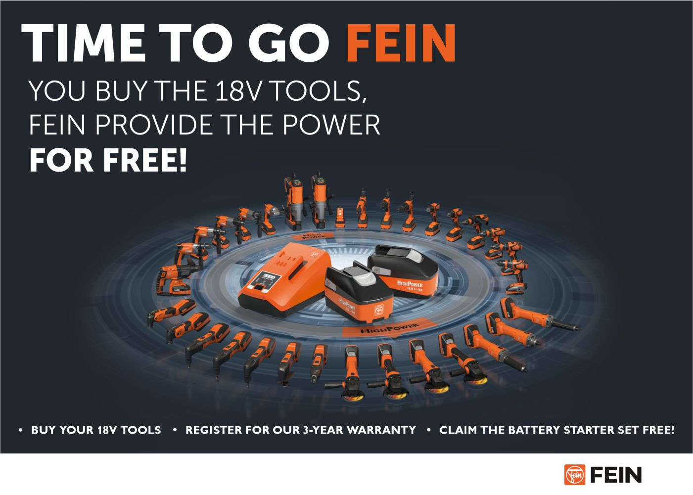 FEIN Two 18V Free Battery Set Promo Slide